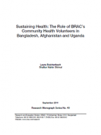 Sustaining health: the role of BRAC's community health volunteers in Bangladesh, Afghanistan and Uganda