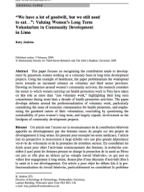 ''We have a lot of goodwill, but we still need to eat…'': Valuing Women's Long Term Voluntarism in Community Development in Lima